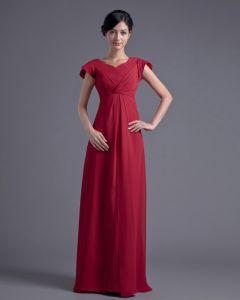 Mousseline De Soie Plissee Col En V Etage Robe De Demoiselle D'honneur De Longueur Petale De Mode