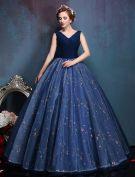Glamorous V-ausschnitt Applique Blumen Royalblau Organza Ballkleider Abschlussballkleider 2016