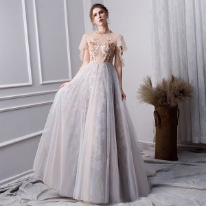 Elegant Grey Prom Dresses 2019 A-Line / Princess Beading High Neck Pearl Crystal Lace Flower Sequins Short Sleeve Floor-Length / Long Formal Dresses