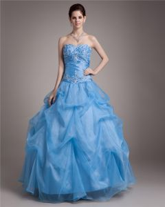Ball Gown Floor Length Sweetheart Embroidery Paillette Pleated Satin Yarn Women Quinceanera Prom Dress