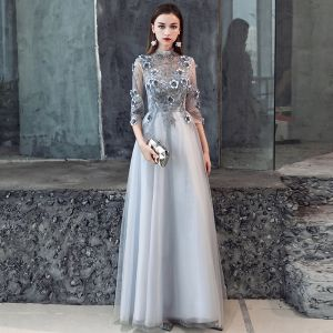 Illusion Grey Pierced Evening Dresses  2019 A-Line / Princess 3/4 Sleeve High Neck Appliques Lace Flower Beading Floor-Length / Long Ruffle Backless Formal Dresses