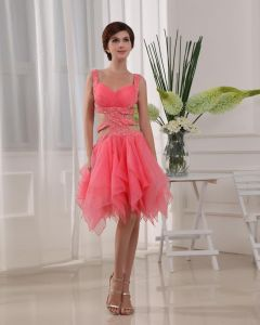 Shouder Straps Sleeveless Belt Beading Knee Length Organza Woman Prom Cocktail Dress