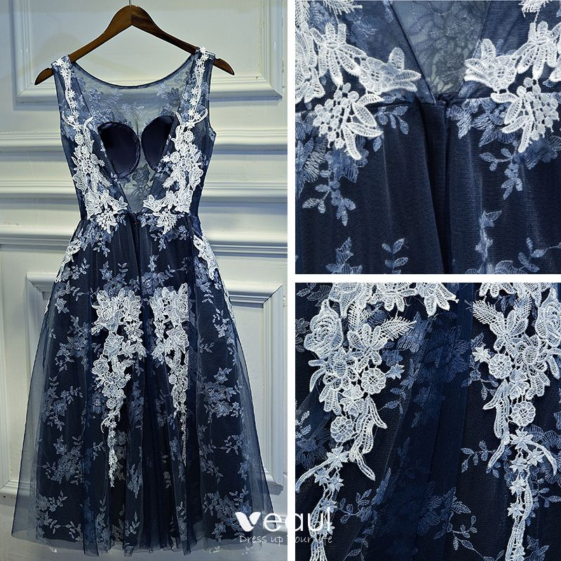 Chic / Beautiful Navy Blue Formal Dresses 2017 A-Line / Princess Lace Flower Backless Scoop Neck Sleeveless Short Evening Dresses