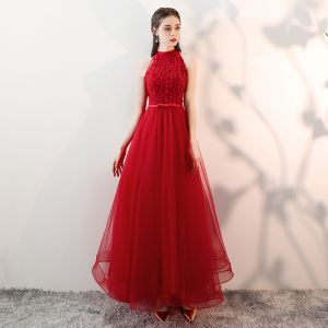 Chic / Beautiful Red Prom Dresses 2018 A-Line / Princess Appliques Lace Bow Scoop Neck Sleeveless Ankle Length Formal Dresses