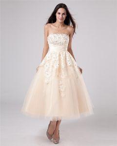Applique Garn Tee Länge Trägerlosen Mini Brautkleider Hochzeitskleid