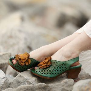Chic / Beautiful 2017 8 cm / 3 inch Black Green Yellow Beach Casual Outdoor / Garden Leather Summer Pierced Thick Heels High Heels Sandals Open / Peep Toe Womens Sandals