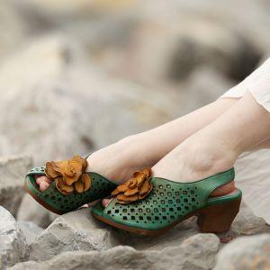 Chic / Beautiful 2017 8 cm / 3 inch Black Green Yellow Beach Casual Outdoor / Garden Leather Summer Pierced Thick Heels High Heels Sandals Open / Peep Toe Womens Sandals