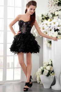 Organza Mody Księżniczka Krótkie Sukienki Koktajlowe Czarne Satynowe