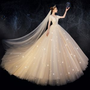 High-end Champagne Wedding Dresses 2019 A-Line / Princess V-Neck Beading Sequins Lace Flower Short Sleeve Backless Cathedral Train