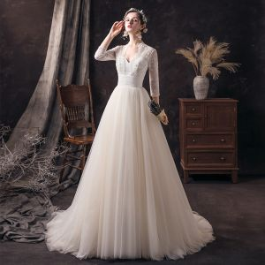 Affordable Champagne See-through Bridal Wedding Dresses 2020 A-Line / Princess V-Neck 3/4 Sleeve Backless Beading Pearl Sequins Sweep Train Ruffle