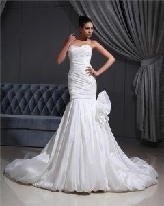 Taffeta Pleated Applique Sweetheart Cathedral Train Mermaid Wedding Dress