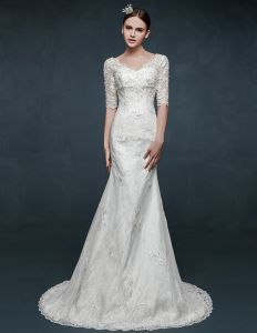 2015 V-neck Long-sleeved Slim Thin Lace Fishtail Wedding Dress