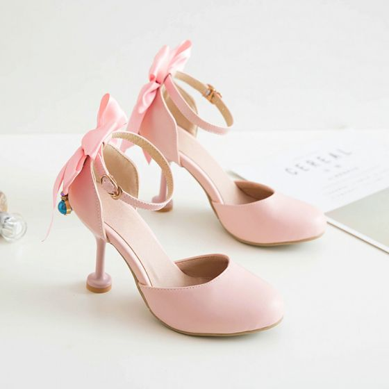 Lovely Candy Pink Dating Womens Shoes 2020 Pearl Bow Ankle Strap Round Toe 9 cm Stiletto Heels Heels