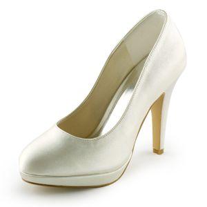Chaussures De Mariée Ivoire Classiques Escarpins Talons Hauts De Satin
