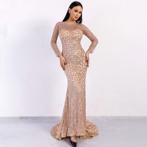 Overkommelige Rose Guld Gennemsigtig Selskabskjoler 2020 Havfrue Scoop Neck Langærmet Glitter Tulle Lange Kjoler