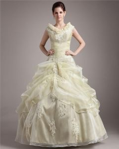 Ball Gown Satin Yarn Beading Applique Round Neck Floor Length Quinceanera Prom Dresses