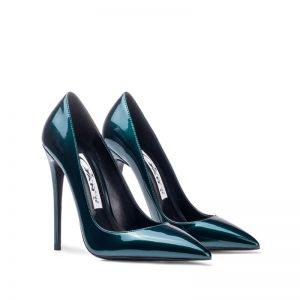 Fashion Dark Green Office OL Pumps 2020 Patent Leather 12 cm Stiletto Heels Pointed Toe Pumps