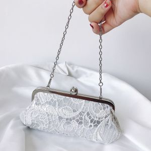 Mooie / Prachtige Witte Handtassen Kanten Geborduurde Handgemaakt Feest Avond Accessoires 2019