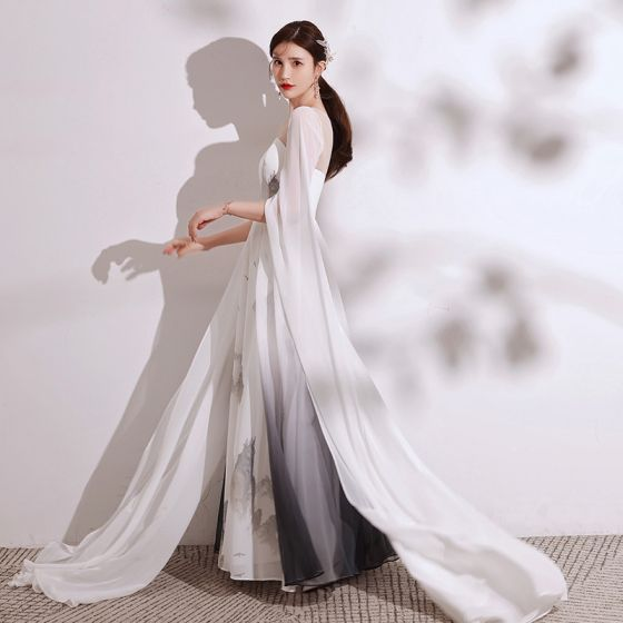 Chinese style Gradient-Color Ivory Printing Evening Dresses  2021 A-Line / Princess Scoop Neck Short Sleeve Floor-Length / Long Formal Dresses