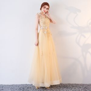 Luxury / Gorgeous Gold Prom Dresses 2017 A-Line / Princess Butterfly Lace Flower Crystal Sequins V-Neck Backless Sleeveless Ankle Length Formal Dresses