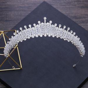 Luxus / Herrlich Silber Diadem 2018 Metall Strass Perlenstickerei Kristall Brautaccessoires