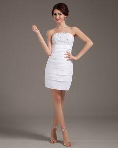 Satin Rüschen Trägerlosen Oberschenkellänge Kurze Brautkleider Hochzeitskleid