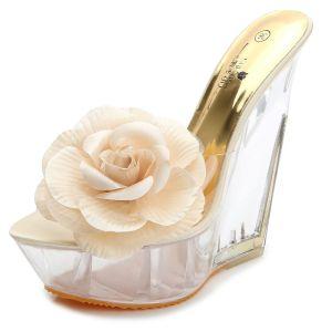 Chic / Beautiful Beige Summer Outdoor / Garden Crystal Womens Sandals 2020 Appliques 14 cm Wedges Open / Peep Toe Sandals