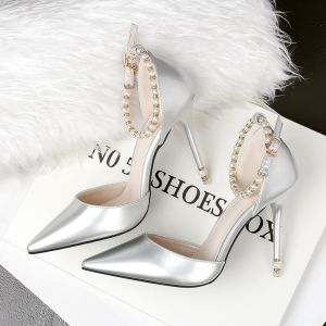 Chic / Beautiful Silver 2018 10 cm Buckle Ankle Strap Casual Pearl High Heels Wedding Shoes