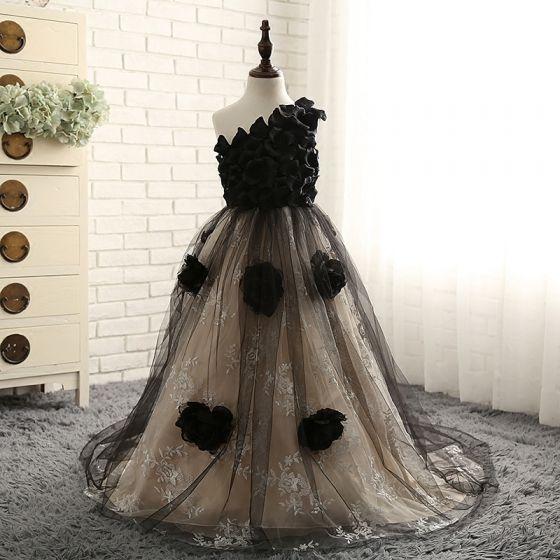 Unieke Hal Jurken Voor Bruiloft 2017 Bloemenmeisjes Jurken Zwarte Champagne Baljurk Chapel Train Een Schouder Mouwloos Bloem Appliques kunstbloemen