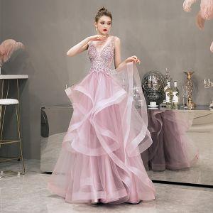 Illusion Rougissant Rose Robe De Soirée 2019 Princesse Col v profond Sans Manches Perle Faux Diamant Perlage Longue Volants en Cascade Dos Nu Robe De Ceremonie