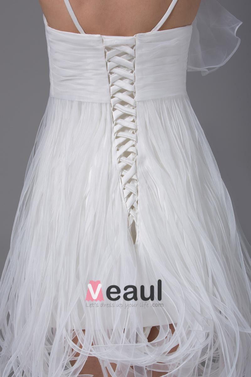 Spaghettibandjes Ruches Knie Lengte Organza Satijn Vrouw Korte Trouwjurken Bruidsjurken