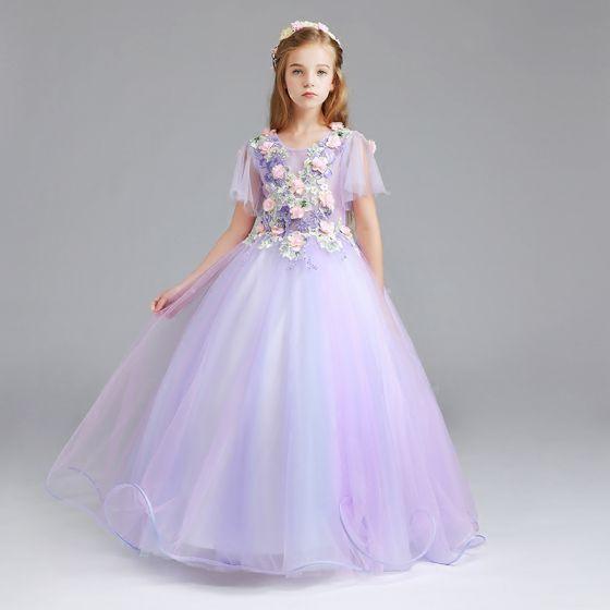 Snygga / Fina Lavendel Brudnäbbsklänning 2017 Balklänning Urringning Korta ärm Appliqués Blomma Pärla Rhinestone Långa Ruffle Klänning Till Bröllop