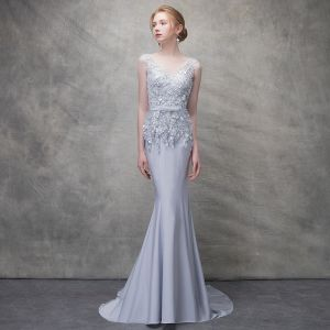 Chic / Beautiful Grey Evening Dresses  2017 Trumpet / Mermaid Lace Flower Beading Bow Sequins V-Neck Backless Sleeveless Sweep Train Formal Dresses