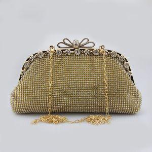 Glitzernden Bling Bling Gold Clutch Tasche Perlenstickerei Strass Velour Metall Cocktail Abend Brautaccessoires 2019