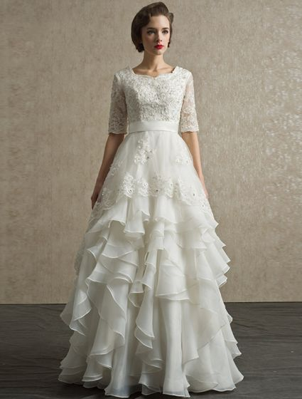 2015 A-line Shoulders Square Neckline Appliques Lace Satin Sash Ruffles Wedding Dress