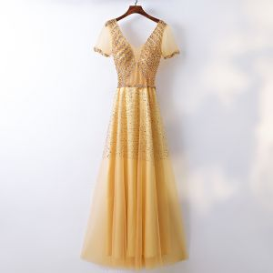 Chic / Beautiful Gold Evening Dresses  2017 A-Line / Princess Lace Beading Crystal Sequins Backless V-Neck Short Sleeve Ankle Length Formal Dresses