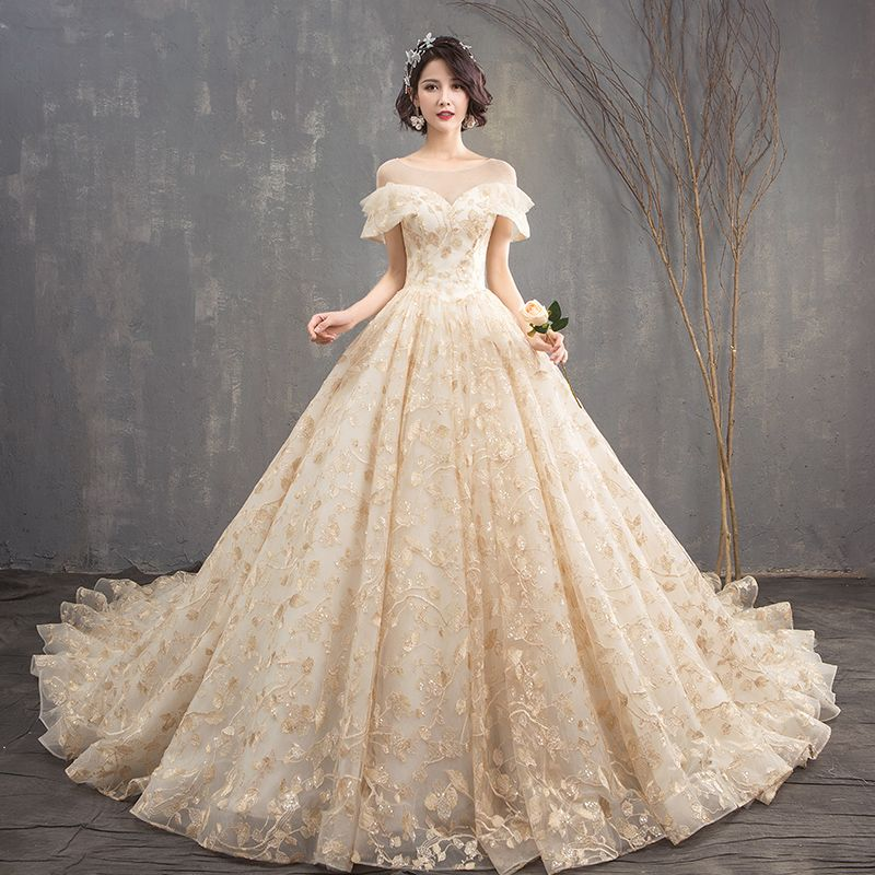 Luksusowe Szampan Suknia Balowa Suknie Ślubne 2019 U-Szyja Koronkowe Tiulowe Bez Pleców Frezowanie Haftowane Trenem Katedra Kościół Ślub