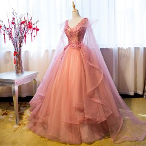 Chic / Beautiful Pearl Pink Cascading Ruffles Formal Dresses 2018 Ball Gown Lace Appliques Pearl V-Neck Sleeveless Watteau Train Backless Floor-Length / Long Prom Dresses