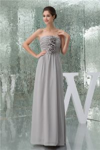 4064a61a1031 2015 Elegant Empire Strapless Pleated Handmade Flower Long Bridesmaids  Dresses