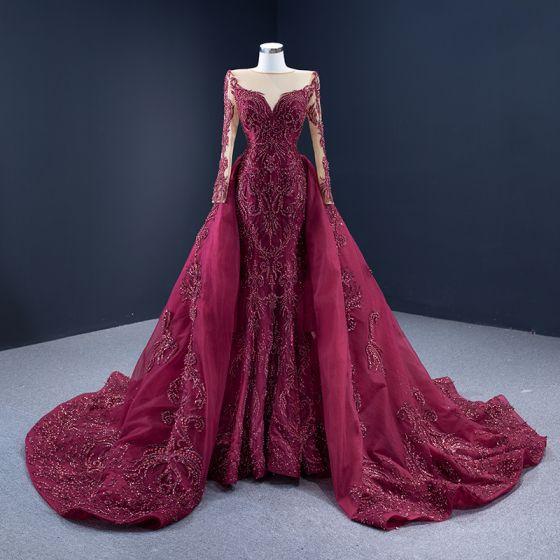Wysokiej Klasy Czerwony dywan Burgund Sukienki Wieczorowe 2021 Princessa Przezroczyste Kwadratowy Dekolt Długie Rękawy Wykonany Ręcznie Frezowanie Cekiny Trenem Sąd Wzburzyć Sukienki Wizytowe