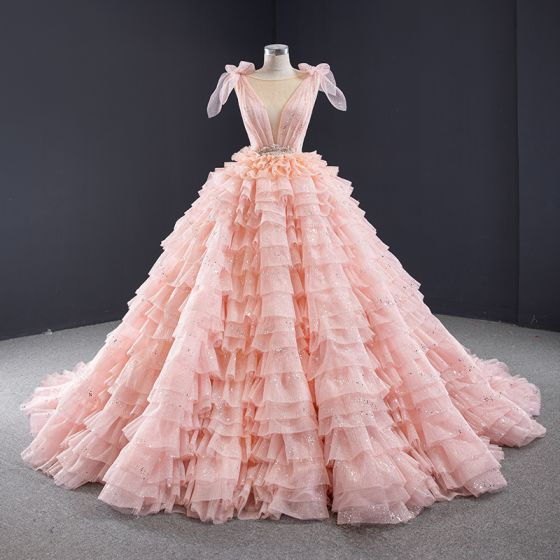 Luxury / Gorgeous Pearl Pink Prom Dresses 2021 Ball Gown Formal Dresses See-through Deep V-Neck Sleeveless Backless Beading Sequins Glitter Tulle Chapel Train Cascading Ruffles