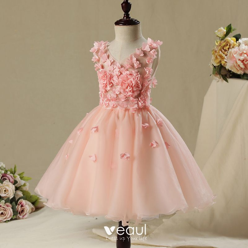 Chic / Beautiful Hall Wedding Party Dresses 2017 Flower Girl Dresses Pearl Pink Short Ball Gown Cascading Ruffles V-Neck Sleeveless Appliques Flower