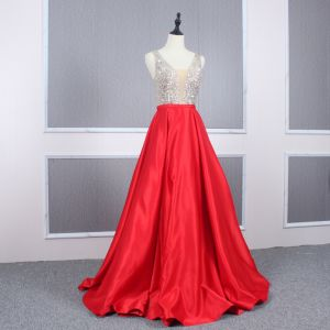 Sexy Red Satin Evening Dresses  2020 A-Line / Princess See-through Deep V-Neck Sleeveless Sequins Beading Floor-Length / Long Ruffle Backless Formal Dresses