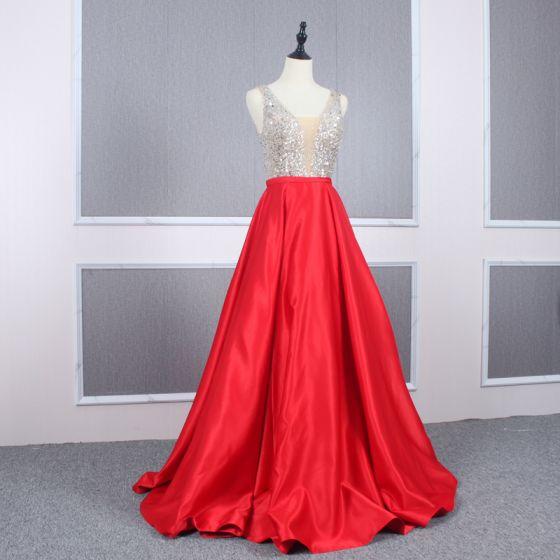 Sexy Red Satin Evening Dresses  2020 A-Line / Princess See-through Deep V-Neck Sleeveless Sequins Beading Floor-Length / Long Ruffle Backless Formal Dresses