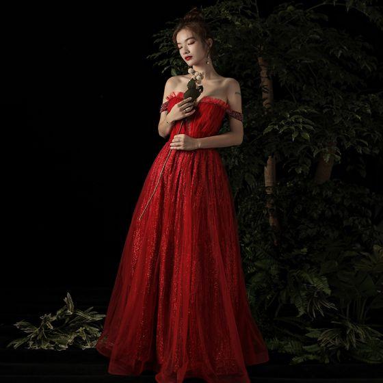 Elegant Burgundy Evening Dresses  2019 A-Line / Princess Off-The-Shoulder Deep V-Neck Beading Short Sleeve Glitter Tulle Floor-Length / Long Ruffle Backless Formal Dresses