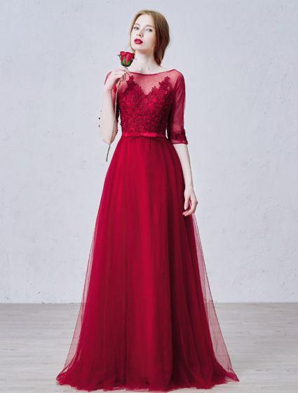 Elegant Prom Dresses 2016 A-line Square Neck Applique Lace Burgundy Tulle Formal Dress