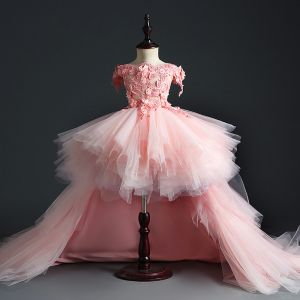 Flower Fairy Pearl Pink Birthday Flower Girl Dresses 2020 Ball Gown Off-The-Shoulder Short Sleeve Appliques Flower Beading Pearl Court Train Cascading Ruffles