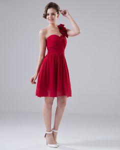 Sweetheart One Shoulder Flower Ruffle Knee Length Chiffon Bridesmaid Dress