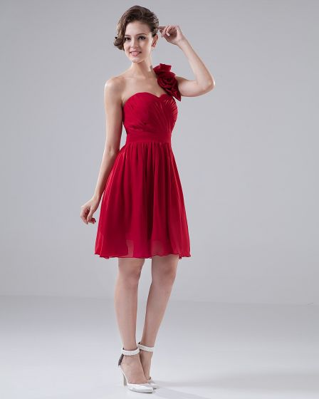 Sweetheart One Shoulder Flower Ruffle Knee Length Chiffon Bridesmaid Dress