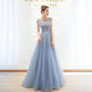 Chic / Belle Bleu Ciel Robe De Soirée 2019 Princesse Encolure Dégagée Perlage Mancherons Longue Robe De Ceremonie